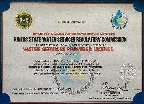 PORT HARCOURT WATER CORPORATION RECEIVES WATER OPERATORS LICENCE
